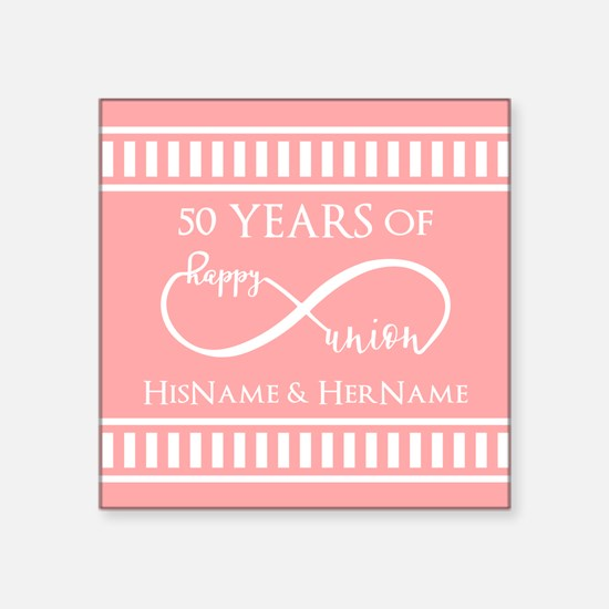 "Infinity 50th Wedding Anniv Square Sticker 3"" x 3"""