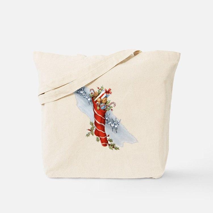 Vintage Christmas Stocking Tote Bag