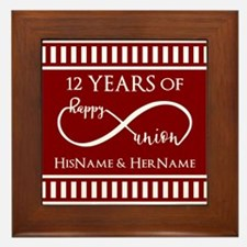 Red Personalized Wedding Anniversary I Framed Tile