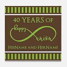 40th Wedding Anniversary Brown Lime I Tile Coaster
