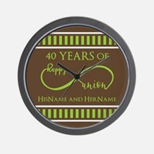 40th Wedding Anniversary Brown Lime Inf Wall Clock