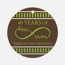 40th Wedding Anniversary Brown Lime Round Ornament
