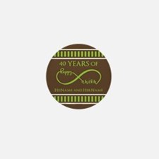 40th Wedding Anniversary Brown Lime In Mini Button