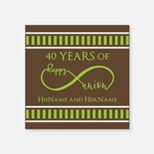 "40th Wedding Anniversary Br Square Sticker 3"" x 3"""