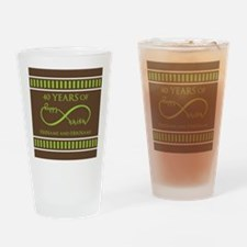 40th Wedding Anniversary Brown Lime Drinking Glass