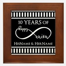 Black White Mr. and Mrs. Wedding Anni Framed Tile