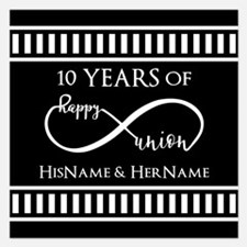 Black White Mr. and Mrs. W 5.25 x 5.25 Flat Cards