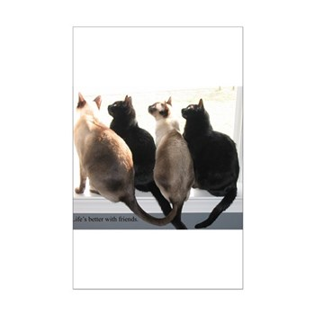 Bird Watching With Cat Friends Mini Poster Print