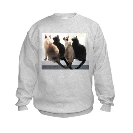 Bird Watching With Cat Friends Kids Sweatshirt