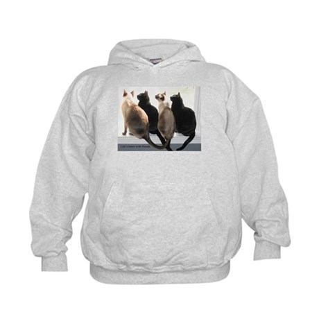 Bird Watching With Cat Friends Kids Hoodie