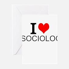 I Love Sociology Greeting Cards