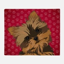 Yorkie Face (red) Throw Blanket