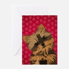 Yorkie Face (red) Greeting Card