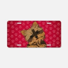 Yorkie Face (red) Aluminum License Plate