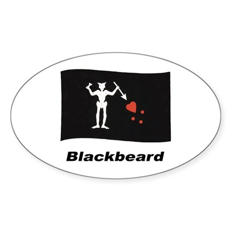 Pirate Flag - Blackbeard Oval Sticker