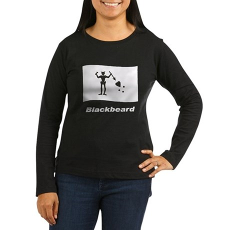 Pirate Flag - Blackbeard (Front) Women's Long Slee