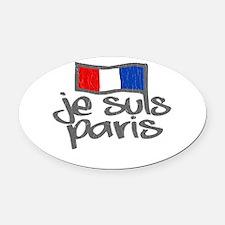 Je Suis Paris - I Am Paris Oval Car Magnet