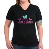 Middle sister Womens V-Neck T-shirts (Dark)