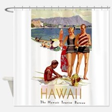 Hawaii, Diamond Head, Vintage Travel Poster Shower