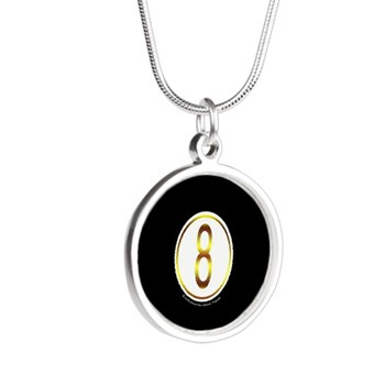 Gold Trim 8 Ball Billiard Ball Silver Round Necklace