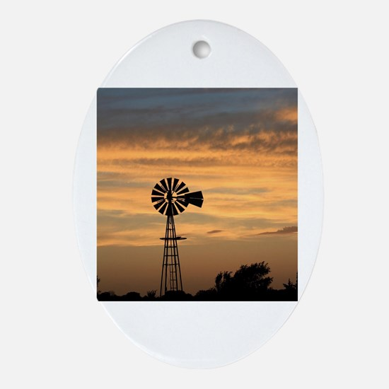 Cute Windmill Oval Ornament