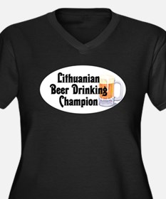 Lithuanian Beer Champ Women's Plus Size V-Neck Dar