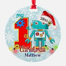 First Birthday Robot Custom Ornament