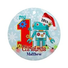 First Birthday Robot Custom Round Ornament