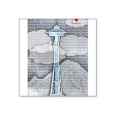 "Cute Seattle Square Sticker 3"" x 3"""
