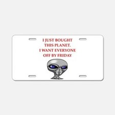 alien invasion Aluminum License Plate
