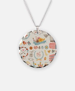 Shabby Chic Print Necklace