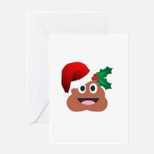santa claus poop emoji Greeting Cards