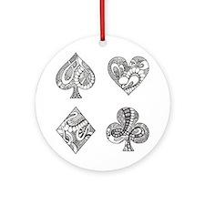 Ace, Spade, Diamond, Club Round Ornament