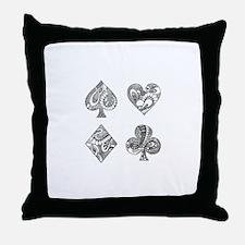 Ace, Spade, Diamond, Club Throw Pillow