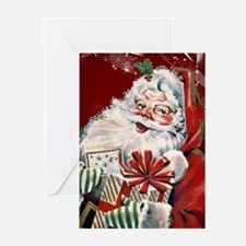 Vintage Santa Claus with many gifts Greeting Cards