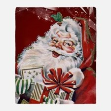 Vintage Santa Claus with many gifts Throw Blanket