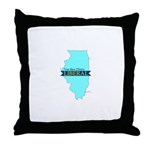 Throw Pillow for a True Blue Illinois LIBERAL