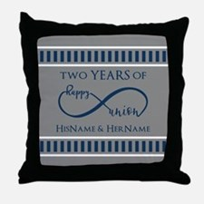 2nd Anniversary Infinity Couple Throw Pillow