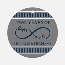 2nd Anniversary Infinity Couple Round Ornament