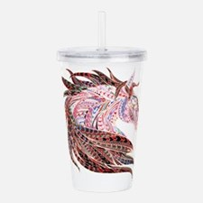 Horse Drawing in Pinks Acrylic Double-wall Tumbler
