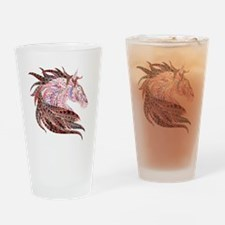 Horse Drawing in Pinks Drinking Glass