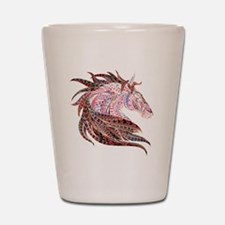 Horse Drawing in Pinks Shot Glass