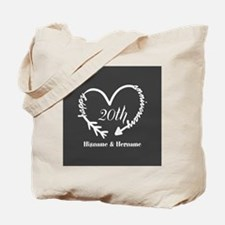 Custom Wedding Anniversary Arrow Heart Tote Bag