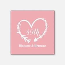 """49th Anniversary Gift Coral Square Sticker 3"""" x 3"""""""