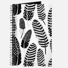 Boho Feather Pattern Watercolor Black and White Jo