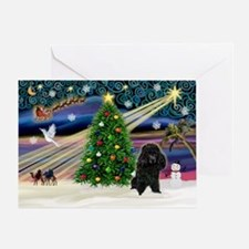 Xmas Magic-Black Poodle Greeting Card