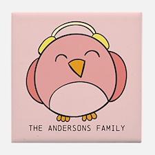Custom Family Name Christmas Winter B Tile Coaster