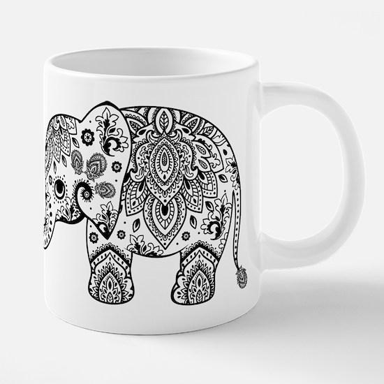 Black Floral Paisley Elephant Illustration Mugs