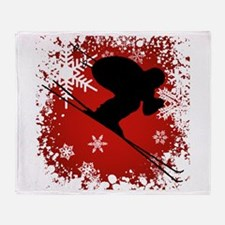 SKI DOWNHILL (RED) Throw Blanket
