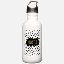 Black and White Gold Foil Hustle Water Bottle